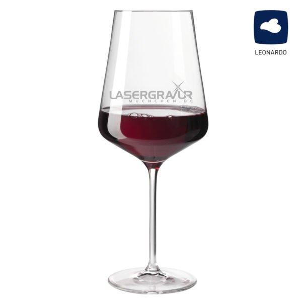 Rotweinglas mit Logogravur